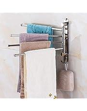 BOLORAMO Perchero de Toalla Giratorio de 180 ° fácil de Instalar Perchero de Toalla Giratorio de Cuatro Barras para Inodoro para baño