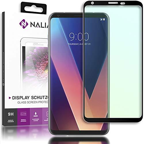 NALIA Cristal Templado Compatible con LG V30, Vidrio Blindado Película Protectora Display Cobertura 9H Dureza Film Protector de Pantalla Movil Telefono Celular Tempered-Glass - Transparente (Negro)