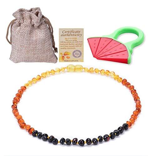 Collana per dentizione in Ambra Naturale per Gemme per Bambini Agata + Bracciali per Gioielli con Miele per Il Bambino Invia teether-Collana da 35 cm