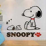 TAOYUE Espejo acrílico 3D Pegatinas de pared para perros de dibujos animados Pegatina linda Snoopy Dormitorio para niños Decoración del hogar Arte autoadhesivo Papel pintado de pared