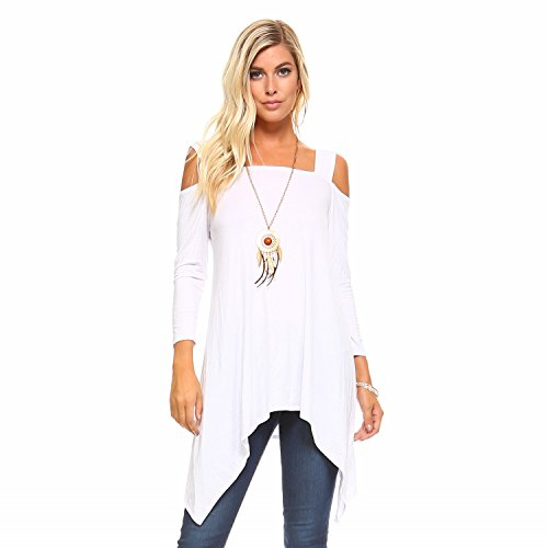 Isaac Live Women's Tunic Top – Casual Wide Strap Cutout Cold Shoulder 3/4 Sleeves Flowy Blouse Tee T Shirt Made in USA 056 White M