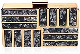 Hebezon Women Metallic Handicraft Clutches Handbags Wallet Purse for Wedding Party (Grey)