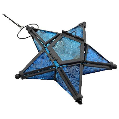 Sziqiqi Hänge Farblicher Fünf-Sterne Kerzenhalter Aus Glas, Eisen Kerzenhalter, Kerzenhalter Ornament Für Abendessen, Blau