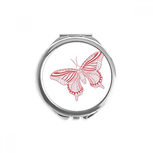 DIYthinker Rosa Schmetterlings-Drachen Spiegel Runde bewegliche Handtasche Make-up 2.6 Zoll x 2.4 Zoll x 0.3 Zoll Mehrfarbig
