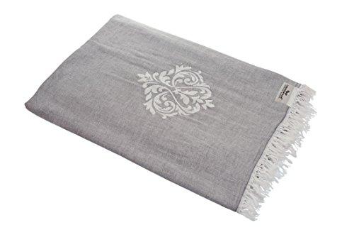 Carenesse Tagesdecke Ornament grau, 180 x 210 cm, hochwertige leichte Doubleface Decke 100% Baumwolle Kurze Fransen, Wohndecke, Sofa-Überwurf, Bettüberwurf, Couchdecke, Bedspread, Plaid