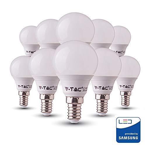 V-TAC E14 LED Lampe P45, Tropfenform, 7W (ersetzt 45W), warmweiß, 10er-Pack
