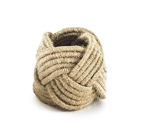 Set of 4 Classic Braided Jute Burlap Napkin Rings, Various Colors (natural)