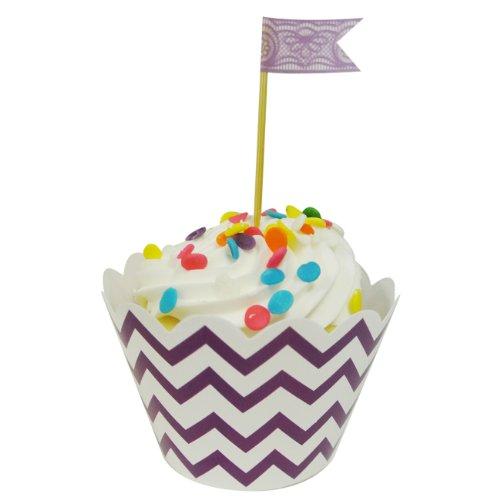 Wrapables Cupcake Wrappers, estándar, Chevron, púrpura, juego de 60