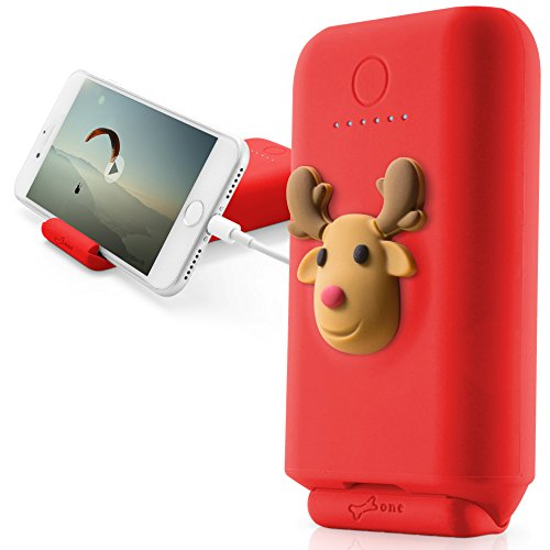 Bone Collection 10050mAh Portable Charger Power Bank w/Phone Stand, 2-Port 3.1A USB External Battery Pack for iPhone iPad Smartphone Tablet, Power 10050 - Red/Mr. Deer