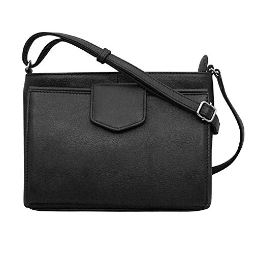 ili New York 6592 Leather Organizer Crossbody (BLACK)