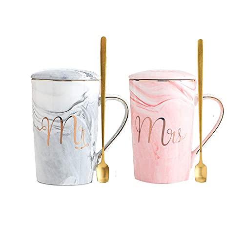 CGDX Tazas divertidas para café, tazas de cerámica de mármol para la novia y el novio/esposo y esposa perfectas para el compromiso de la novia la boda y el aniversario