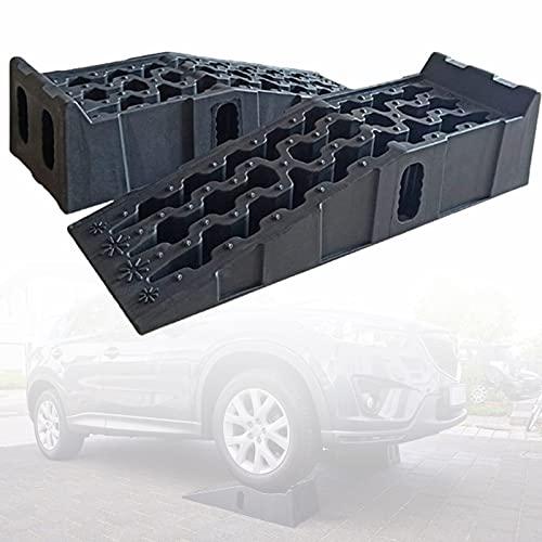 ZPCSAWA 2 Piezas de Rampas de Bordillo de Plástico Kit, Rampa de Umbral de Plástico Liviano y Resistente para remolques de Autos, Camiones, Bicicletas y Motos