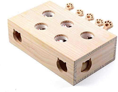猫おもちゃもぐら猫じゃらしモグラ叩き猫遊び猫じゃれモグラ叩き木箱猫じゃらし知育おもちゃペットグッズ(B1(5穴))