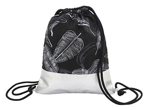 toito wear Gymbag, Polyester, Tropical Rain'', schwarz/Silber Umhängetasche, 43 cm, 10.5 Liter, Schwarz/Silber