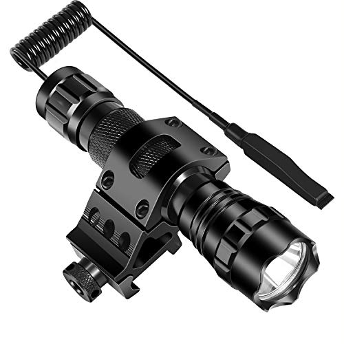 """ccko Tactical Flashlight 1200 Lumen LED Flashlight Waterproof with 1"""" Picatinny Rail Mount &Rechargeable Battery and Remote Pressure Switch"""