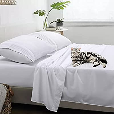 Queen Sheet Set - Super Soft Brushed Microfiber 1800 Series - COHOME Luxury 16'' Deep Pocket Bed Sheet Set 4 Piece - Breathable and Comfortable , Hypoallergenic , Wrinkle Free , Fade Resistant (White)