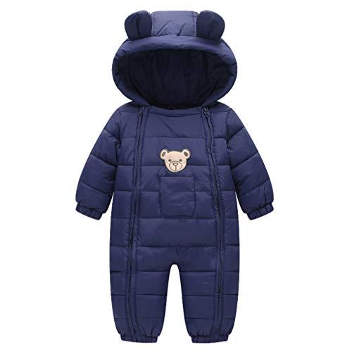 Baby Winter Overall Mit Kapuze Schneeanzüge Outfits Bär Strampler Jungen Mädchen Spielanzug Marine 3-6 Monate