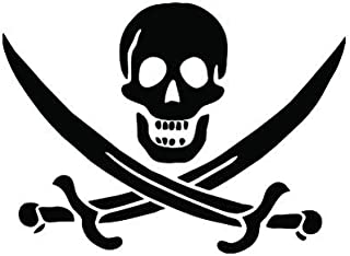 Calico Jack Sticker - Decal - Die Cut - Pirate Jolly Roger Flag - Black 4.00