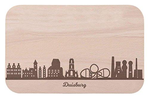 Frühstücksbrettchen Duisburg mit Skyline Gravur - Brotzeitbrett & Geschenk für Duisburg Stadtverliebte & Fans - ideal auch als Souvenir