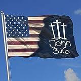 Crosses John 316 Christian Jesus American American Flag Banner,Lndoors Outdoors Garden Flag Banner Breeze Flag 3x5 Feet