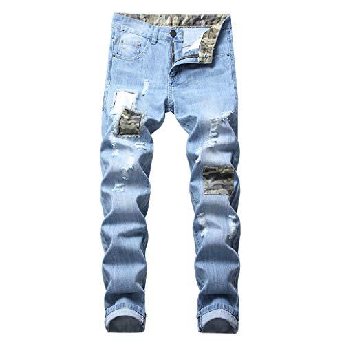 cinnamou Jeanshosen Herren Stretch Jeans Ripped Jeans Zerrissene Jeans Loch Jeans Zip Jeans Slim New Buntfalten Hosen Pash Jeans Lange Mode