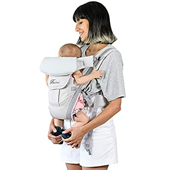 Baby Carrier Front and Back Newborn to Toddler Multifunctional Adjustable 4-in-1 Kangaroo Infant Carrier Backpack with Pocket Head and Back Support for Mom and Dad One Size Fit All Season Grey