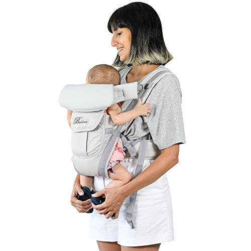 Baby Carrier Front and Back Newborn to Toddler, Multifunctional Adjustable 4-in-1 Kangaroo Infant Carrier Backpack with Pocket Head and Back Support for Mom and Dad, One Size Fit All Season, Grey