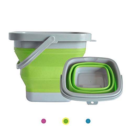 ANPI Faltbarer Eimer, zusammenklappbarer Silikon-Plastikeimer, für die Hauptreinigung, Camping, Angelreisen, tragbarer Wasserspeicherträger, Indoor Outdoor