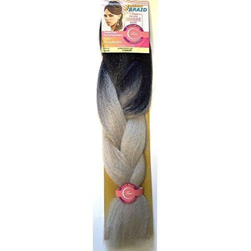 Femi Collection Jumbo Braid Ombre Color 100% Kanekalon Braiding Extension Hair (TT1B/SILVER) +1 FREE NAIL POLISH