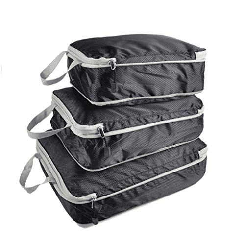 Coconut Floridivy 3 Pieces Packing Cubes Set Travel Luggage Packing Organizer Travel Compression Suitcase Bags - Black