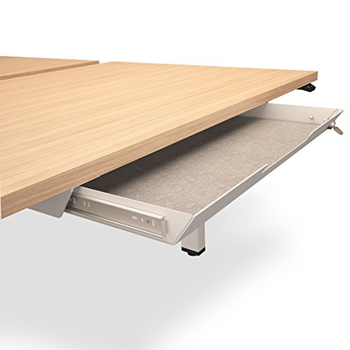 Weber Büroleben GmbH Unterbau-Schublade mit Schloss 584 x 290mm aus Metall mit Filzeinlage, Farbe:Weiß