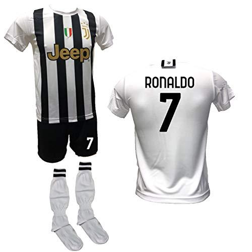 Home Cristiano Ronaldo CR7 - Conjunto de fútbol, camiseta blanca, pantalón con número 7, estampado y calcetines réplica autorizada 2020-2021, tallas de niño y adulto (M (adulto).