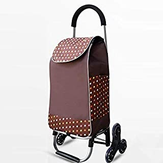 Djyyh Lightweight Shopping Trolley Aluminum Alloy with 6 Wheels Climbing Stairs Large Capacity Folding Supermarket Push Pull Car (Color : Brown)
