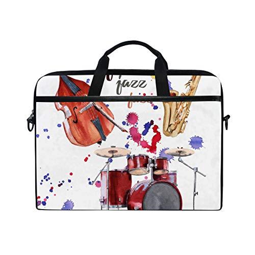 LOSNINA 15-15.4 inch Laptop Tasche,Jazz Instruments Saxophon Schlagzeug Kontrabass,Neue Leinwand Drucken Muster Aktentasche Laptop Schulter Messenger Handtasche Case Sleeve