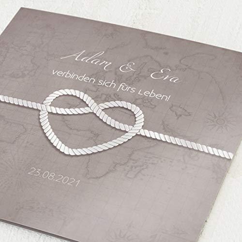sendmoments Einladungskarten Hochzeit, Tau, 5er Klappkarten-Set quadratisch, personalisiert mit Text & Fotos, mit Relieflack Veredelung, optional passende Design-Umschläge