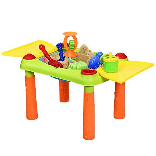 GOPLUS Sand und Wasser Spieltisch, Sandtisch mit Klappbarem Deckel, Wassertisch inkl. Förmchen Schaufel Gießkanne Segelboot Sanduhr, für Kinder ab 3 Jahre (18 pcs)