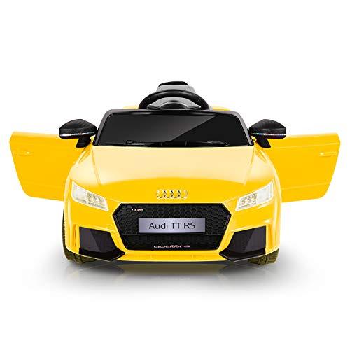 Metakoo Macchina Elettrica per Bambini, Audi TT RS Auto Elettrica 12V con Telecomando 2.4GHz, LED e Clacson. Max.5Km/h 2X Motori 25W, Lettore MP3, AUX, USB, Cintura di Sicurezza, Fino a 30Kg-Giallo