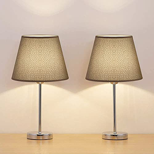 Shinoske Bedside Table Lamps - Small Nightstand Lamps Set of 2 with Black Fabric Shade, Elegant Nightstand Lamps Bedside Desk Lamp for Living Room, Office, Dorm, Kids Room, Girls Room