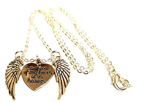 Memorial Jewelry 'A Piece of My Heart is in Heaven' Angel Wings Necklace in Memory of Family Pets Dog Best Friend