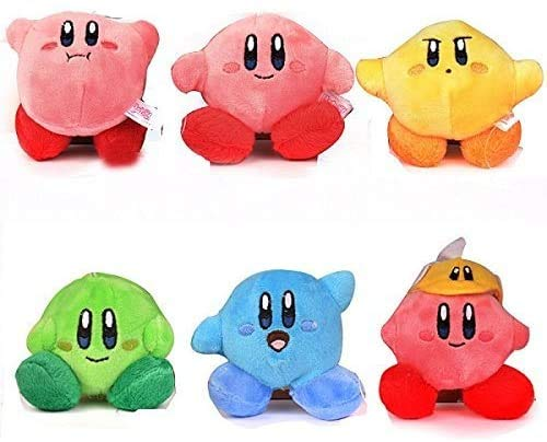 Star Kirby Plush Strap 6pcs Star Doll Stuffed Animals Cute Soft Anime Collection Toy