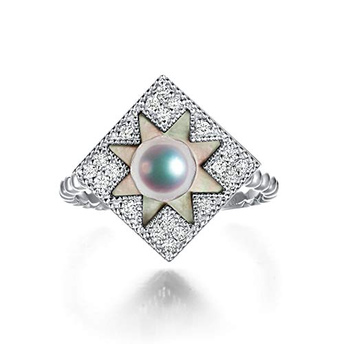 AmDxD White Gold Ring for Women 18K, 6MM Akoya Pearl Flower Square Promise Ring to Myself Wedding Ring Decorations Size N 1/2, Birthday for Women Mom Wife