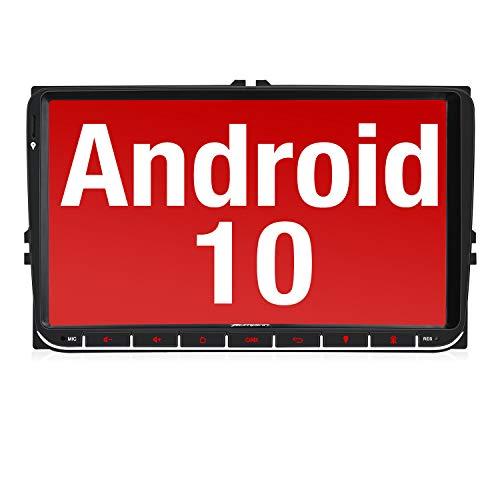 Pumpkin 9' Android 10 Radio Compatible para VW 2 Din Autoradio GPS navegador con Bluetooth, Control Volante, USB, WiFi, 4G, Micro SD, Mirror-Link, DAB +