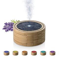 Idea Regalo - Medisana AD 625 Diffusore di Aromi In Bambù, Nebulizzatore in Legno con Luce Benessere in 6 Colori, per Oli Essenziali Profumati, Lampada Profumata con Timer, 100 m