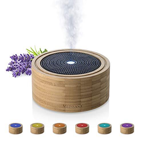 Medisana AD 625 Aromadiffuser aus Bambus, Vernebler aus Holz mit Wellness-Licht in 6 Farben, für ätherische Duftöle, Duftlampe mit Timer, 100 ml