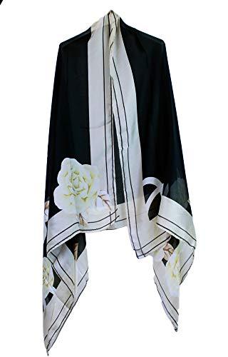 si moda dames sjaal ronde sjaal roze patroon bedrukt halsdoek XXL poncho pareo lange bloemen