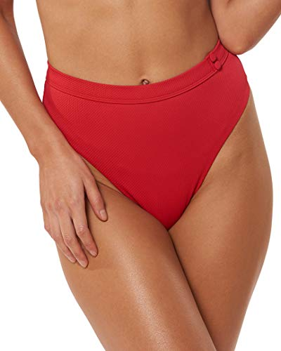 Red Carter Women's Beach Chic High Waist Bikini Bottom Pepper M