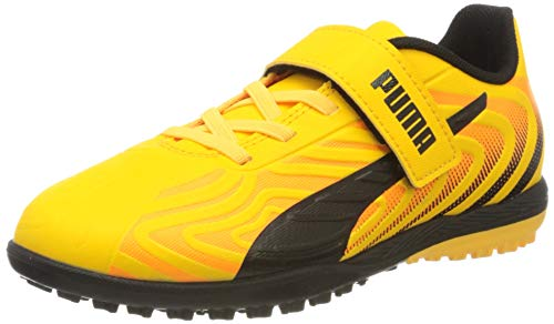 PUMA Unisex-Kinder One 20.4 Tt V Jr Botas de fútbol, Gelb (Ultra Yellow Black-Orange Alert), 35 EU