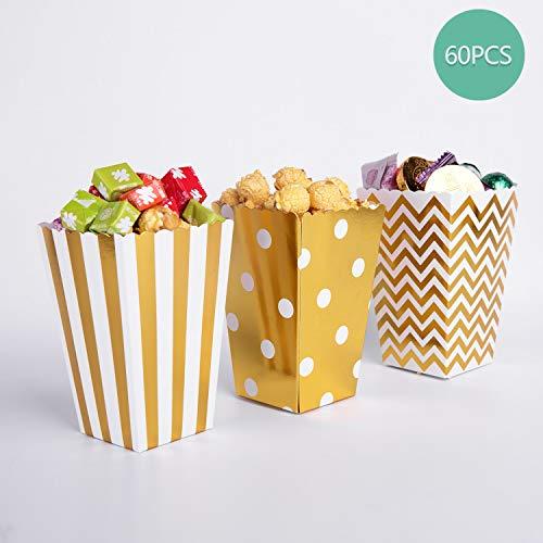 Bolsas de palomitas de maíz, 60 cajas de palomitas de maíz doradas de cartón para aperitivos de fiesta, palomitas de maíz y regalos