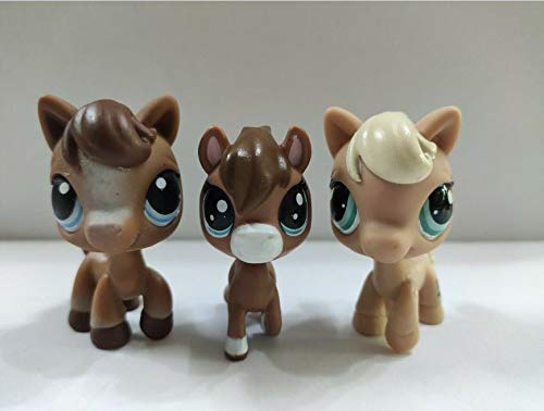 3pcs/Lot Littlest pet Shop LPS Brown Cream Horses Kid Toy Gift