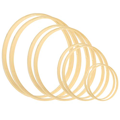 Rannco Wreath Rings 8 Pack 4 Sizes (5 6 8 & 10 Inch) Wooden Bamboo Floral Hoop Wreath Macrame Craft Hoop Rings for DIY Dream Catcher, Wedding Wreath Decor and Wall Hanging Crafts